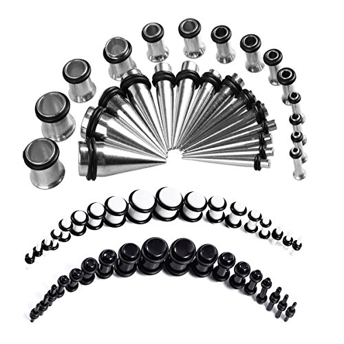 Ear Plug Stainless Steel (BodyJ4You 72PC Gauges Kit Black White Acrylic Plugs Stainless Steel Tapers 14G-00G Ear Stretching Set)