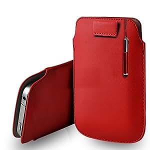 Nokia Lumia 630 cuero rojo Tire Tab caso de la cubierta Pouch + Retractable Stylus Pen Touch + paño de pulido
