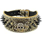 Berry 3 Inch Width Bronze Spiked Studded Leather Dog Collar for Training,Sports,Walking,Travel,Dog Show,Heavy Duty,Waterproof,Medium Dogs,Pitbull,Labrador,Boxer,Neck for 17-20""