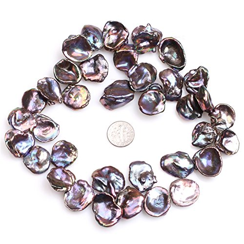 JOE FOREMAN 20mm Freshwater Cultured Pearl Semi Precious Stone Top Drilled Black Coin Loose Beads for Jewelry Making DIY Handmade Craft Supplies 15