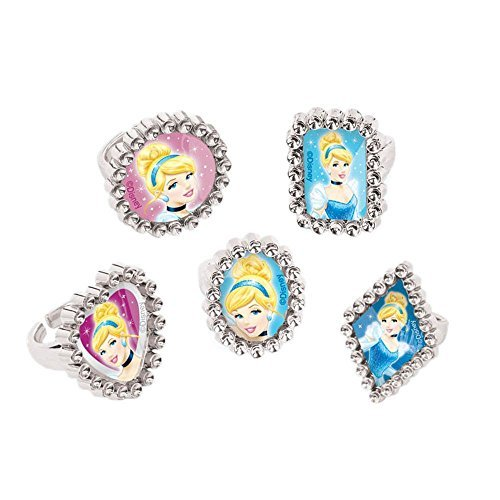 Disney Cinderella Silver Jewel Ring Birthday Party Accessory Favour (18 Pack), Blue/Pink, 1''H x 1''W x 1''D. by amscan
