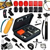 Xtech® Comprehensive ACCESSORY KIT for GoPro HERO4 Hero 4 - Hero3+ Hero 3+ - HERO3 Hero 3 - HERO2 Hero 2 - HD Motorsports HERO - Surf Hero - GoPro Hero Naked - GoPro Hero 960 - GoPro Hero HD 1080p - GoPro Hero2 Outdoor Edition Digital Cameras Includes: Medium size Custom Camera CASE + Hermetically Sealed Floating Bobber + GoPro Head Mount for Tripod and Monopods + 3 Flat Adhesive Surface Stickers and Mounts + 3 Curved Adhesive Stickers and Mounts + MORE