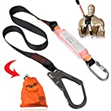 KSEIBI 422005 Single Leg Snap Hook and Scaffolding Hook w 6-Foot Internal Shock Lanyard Fall Protection Equipment for Safety Harness