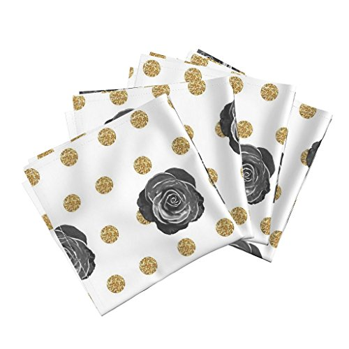 Glitter Black Rose Gold Floral Linen Cotton Dinner Napkins Classic Black Rose On Gold by Willowlanetextiles Set of 4 Dinner Napkins