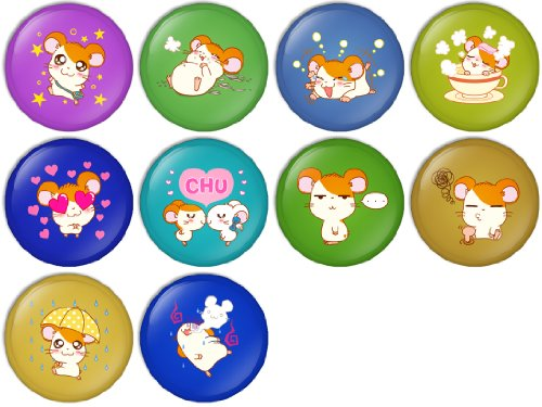 Hamtaro Set 1 Pinback Buttons Badges/Pin 1 Inch (25mm) Set of 10 New