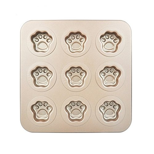 Astra shop Premium 9 Cup Champagne Cat Paw Prints Cake Pan Cute Baking Pan Non Stick Cake Mold Muffin Pan,11 x 11 inch (Cute Cupcake Pan compare prices)