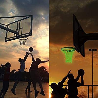 Nightlight Basketball Net   Outdoor Sun Powered Nightlight Basketball Net, Glow in The Dark Basketball Net, Glowing Basketball Hoop Rim Net (Green): Kitchen & Dining
