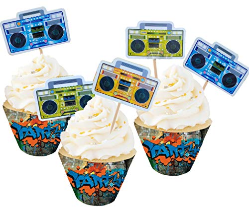 BoomBox Graffiti Wall Cupcake Decorations Party Favors Toppers Wrappers (Real 80s Boombox)