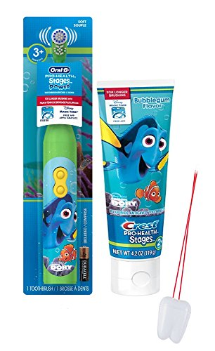 """Disney's """"Finding Dory"""" 2pc. Bright Smile Oral Hygiene Set! Includes Dory Battery Powered Toothbrush & Crest Bubble Gum Flavored Toothpaste! Plus Bonus """"Remember to Brush"""" Visual Aid!"""