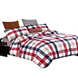 Luxury Plaid Washed Cotton Duvet Cover Set Twin 3 Piece Girls Bedding Cover Set Red Blue Grid Print Duvet Comforter Cover Set for Kids Adults 1 Duvet Cover with 2 Pillowcases Hotel Bedding Collection