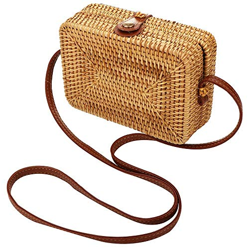 - Rattan Shoulder Bag Exquisite Handwoven Crossbody Bag Summer Shopper Handbag for Beach Travel and Daily Use (190x130x65mm)