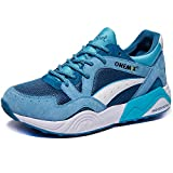 ONEMIX Men's Fashion Sneakers Casual Retro Breathable Running Shoes LakeBlue/White44