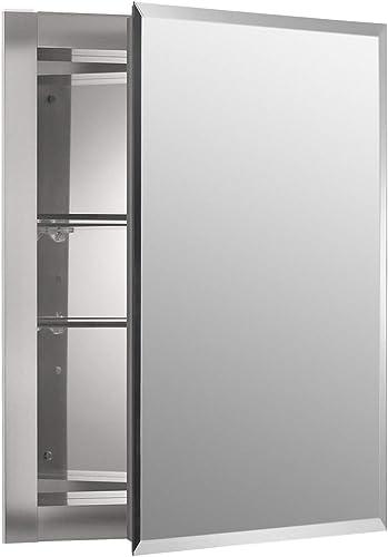 Kohler K-Cb-Clr1620Fs Frameless 16 Inch X 20 Inch Aluminum Bathroom Medicine Cabinet Recess Installation Only