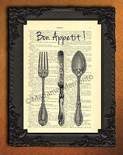 Bon appétit cutlery artwork, fork knife spoon kitchen decorations ()