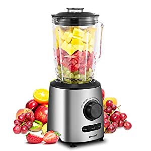 Comfee 500W Professional Smoothie Blender with 3 Preset Programs (Ice crush, Pulse, Smoothie) Variable Speeds control and 48 ounce BPA Free Glass Jar