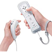 Expresstech Nintendo Wii Remote Wireless Remote Controller and Nunchuk with Silicone Case for Nintendo Wii and Wii U [White]