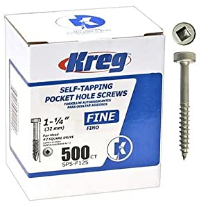 Kreg SPS-F125-500 Pocket Hole Screws 1-1/4-Inch #2 Fine Pan-Head 500ct