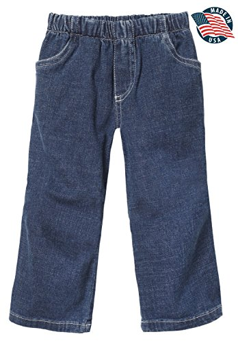 City Threads Boys' and Girls' Jeans Pull-Up Pants for School or Play; Comfortable for Active Children in Stretchy Cotton for Sensitive Skin SPD Sensory Friendly Jeans, Medium Wash , 4