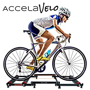 AccelaVelo Indoor Bike Roller Trainer | Light & Strong Frame | Compact Portable Tri Fold Design | Seamless Rollers | 5 Year Warranty
