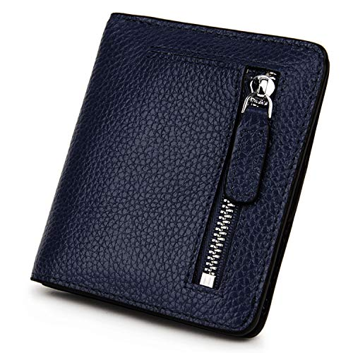 Womens Wallet Blue (BIG SALE-AINIMOER Women's RFID Blocking Leather Small Compact Bifold Pocket Wallet Ladies Mini Purse with id Window (Navy Blue))
