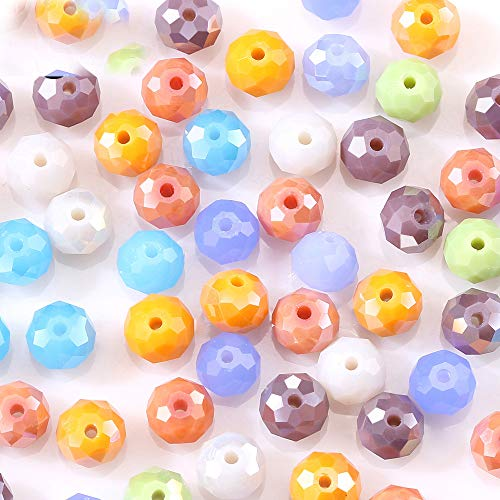 (4mm Mix Color Crystal Czech Beads Bicone Rondelle Faceted Shape Sew on spacers DIY Chandeliers Lariat Earrings Necklace Charms Glass Quartz Charms Bracelet Accessorie Component (Picture Color #37))