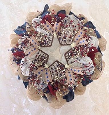 New! Premium! Fourth of July Twig Berry Wreath Handmade Deco Mesh Americana Deco