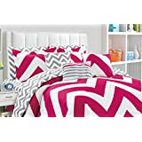 Fashion Street Fiesta 11-Piece Reversible Bed in A Bag, Queen, Pink