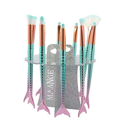 10 Pcs Mermaid Makeup Brush Holder, LHEI Collapsible Air Dry