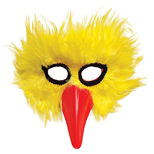Yellow Feather Bird Mask With Beak