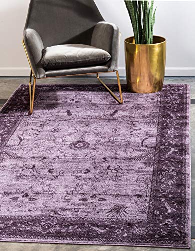Unique Loom La Jolla Collection Tone-on-Tone Traditional Purple Area Rug 4 0 x 6 0