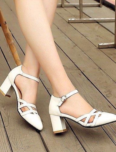 ShangYi Women's Shoes Leatherette Chunky Heel Heels Heels Casual Black / White / Gray
