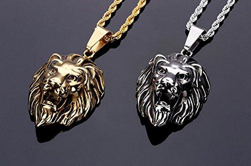 Hommes Femmes Collier pendentif tête lion avec collier chaîne 60cm