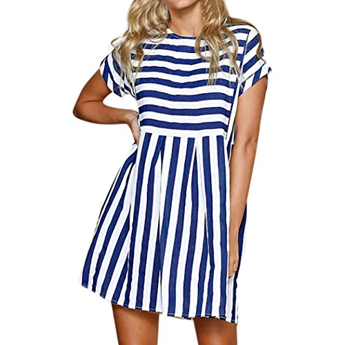 (HODOD Women Vintage Holiday Casual Loose Short Sleeve Bohemian Striped Ladies Summer Beach Mini Swing Sundress)