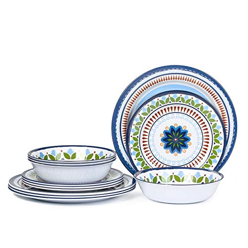 12 Pcs Melamine Dinnerware Set - Rustic Plates and bowls Set for Camping, Service for 4, Dishwasher Safe