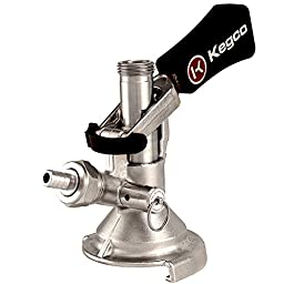 Kegco KC KT2410W-M Ergonomic Lever Handle Keg Taps Coupler M System with Stainless Steel Probe, Brass