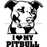I Love My Pitbull Pup Die Cut Vinyl Car & Truck Decal Window Sticker