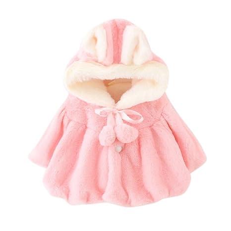 ESHOO bebé niña piel sintética cálido invierno capa con ...