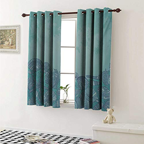 Nautical Thermal Insulating Blackout Curtain Marine Beauty Shell with Seahorse Starfish Oysters Ocean Sea Tropical Image Curtains Girls Room W55 x L39 Inch Turquoise Teal