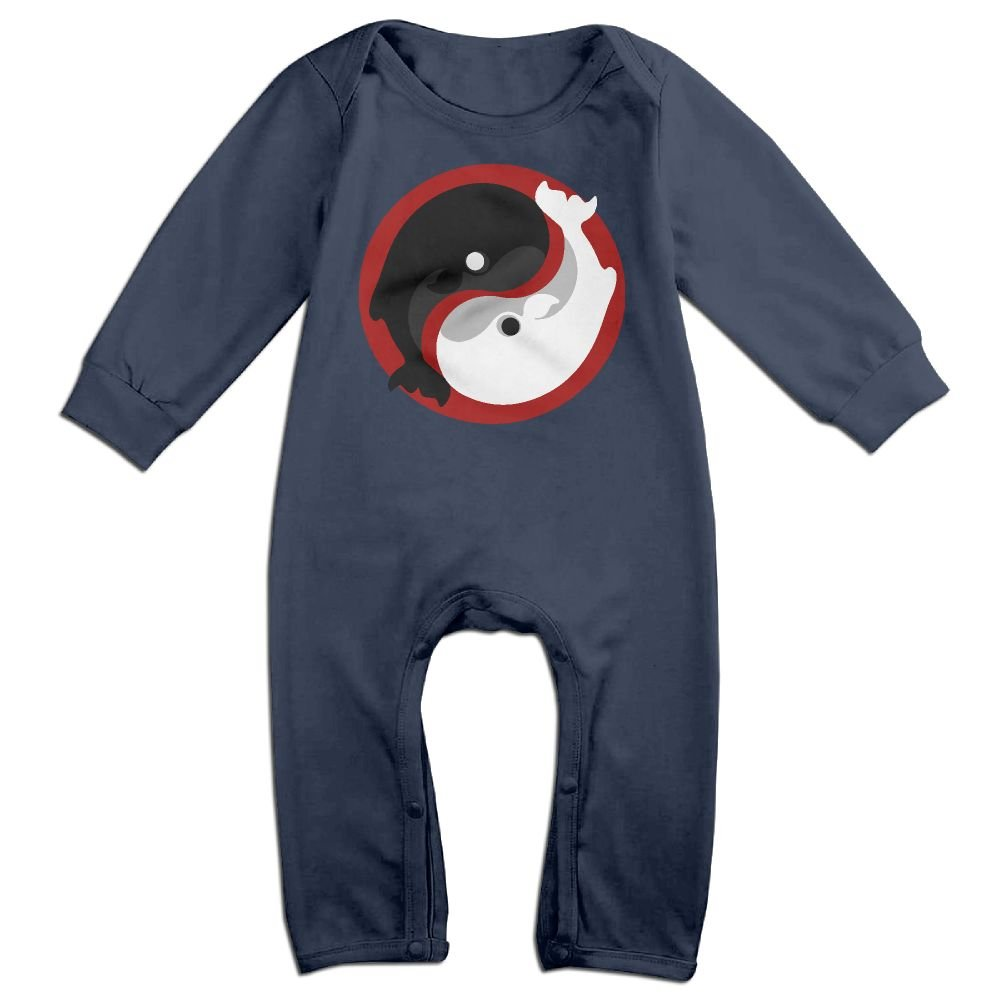 Mri-le1 Toddler Baby Boy Girl Long Sleeved Coveralls Yin Yang Whale Baby Clothes