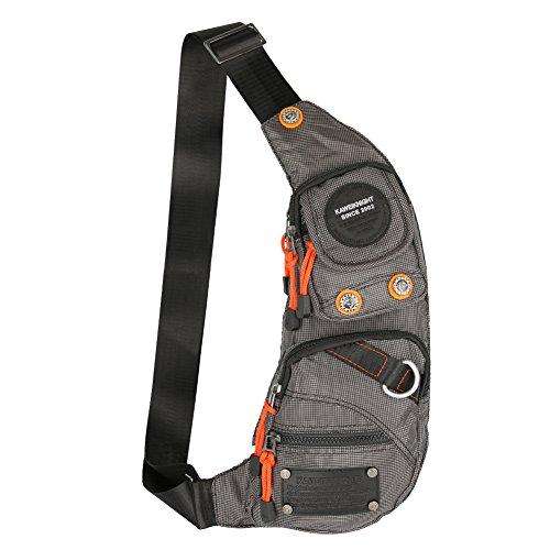 (Kawei Knight Nylon Sling Bag Messenger Backpack (Gray))