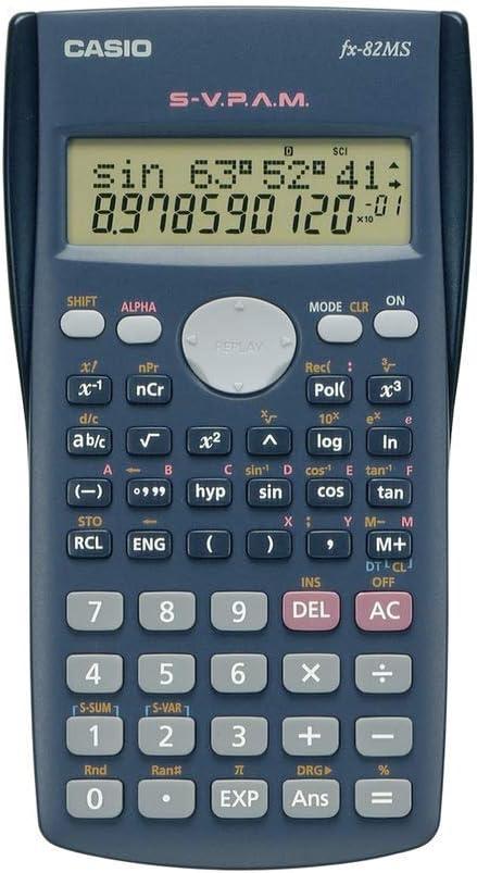 Casio FX-82MS - Calculadora científica (240 funciones, 24 niveles de paréntesis, VPAM), color gris oscuro