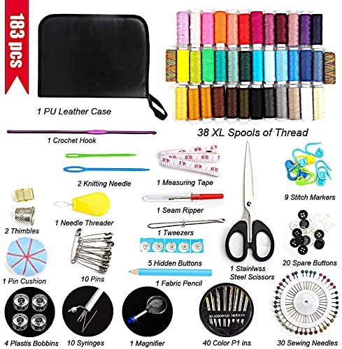 DAPAWIN Sewing Kit for Adult 183 Needle and Thread Kit for Sewing with Sewing Thread//Buttons//Needlepoint//Scissors etc Sewing Gifts Basic Sewing Kit for Beginners//Kids//Emergency