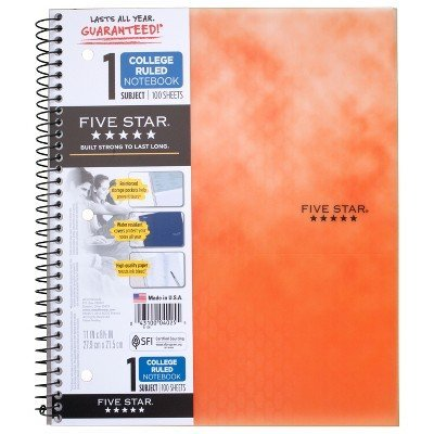 Clouded Spiral Notebook 1 Subject College Ruled Orange - Five Star Orange