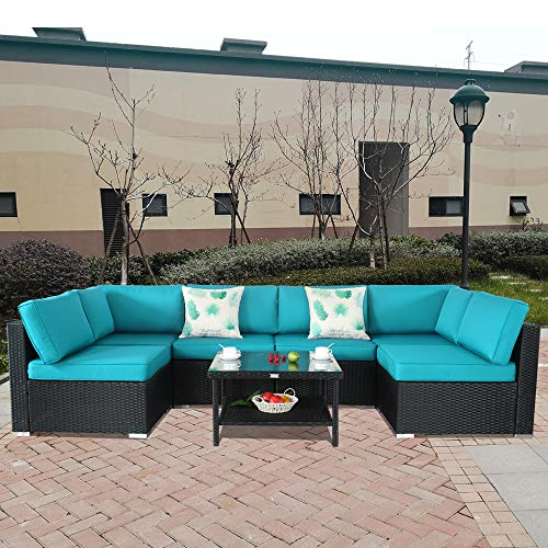 Furniture Dark Dining Wicker Room (Patio Rattan Furniture Outside Sofa Black Rattan Couch Set Garden Rattan Seating Couch Sectional Conversation Sofas Turquoise Cushion)