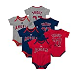 Mike Trout Angels Majestic Toddler 3-Pack Baby Onesie Bodysuit Set - Red/Navy/Gray