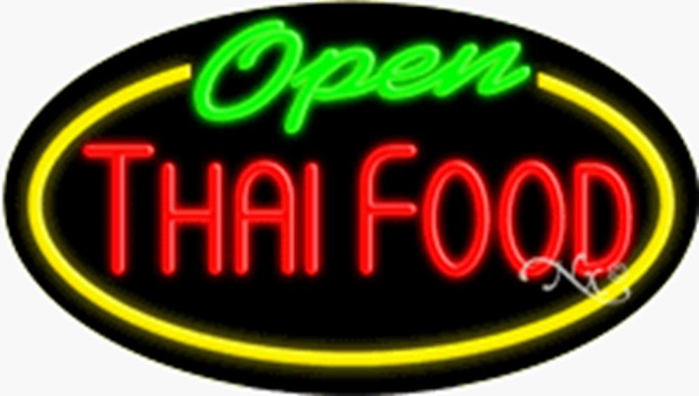 17x30x3 inches Thai Food Open Flashing ON/OFF NEON Advertising Window Sign