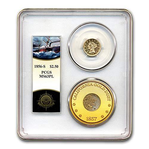 1856 S $2.50 Liberty Gold Quarter Eagle MS-63 PCGS (PL, Cen. Am.) Quarter MS-63 PCGS