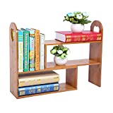 Natural Bamboo Adjustable Desk Organizer,Plant Stand,Expandable Kitchen Organizer Shelves Spice Rack Makeup Organizer,Multipurpose Display for Office, Kitchen, Books, Flowers and Plants-Large Capacity