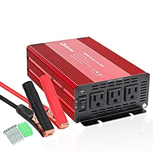 1000W Power Inverter for Home Car RV with 3 AC Outlets Quesvow Converter 12V DC to 110V AC Inverter