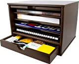Victor Wood Desktop Organizer with Closing Door, B4720 (Mocha Brown)